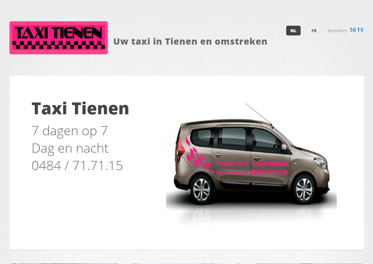 Website Taxi Tienen: www.taxitienen.com